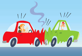 Cartoon of a car rear ending another car